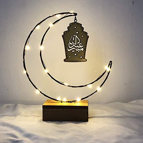 Wanshop Ramadan Fasting Holiday Lights LED leuchtet Mondlichter LED-Leuchten Spiegel Home Festival Party Geschenk Schlafzimmer Geschenk (Schwarz)