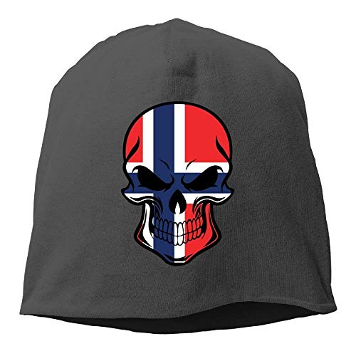Zhgrong Caps Skull Beanie Hat Norwegian Flag Skull Mens Warm Winter Watch Cap Cool Ball Cap Winter Watch Cap
