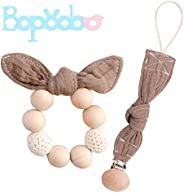 bopoobo 2pc Baby Wooden Teether Bunny Ear Organic Rings Rattle Pacifier Dummy Clips Perfect Shower Gifts Beige