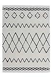 One Couture Berber Teppich Moderner Teppich Ethno Style Hochflor Teppich Weich Schwarz, Größe:160cm x 230cm
