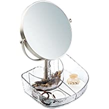 mDesign Specchio Rotondo da Bagno con Vassoio per Cosmetici per