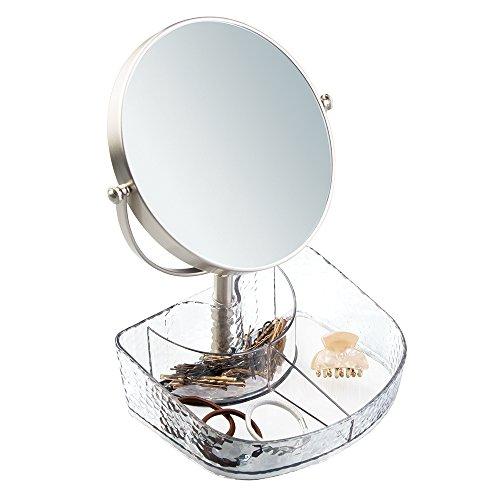 mDesign Specchio Rotondo da Bagno con Vassoio per Cosmetici per Accessori per Capelli, Trucco - Trasparente/Spazzolato