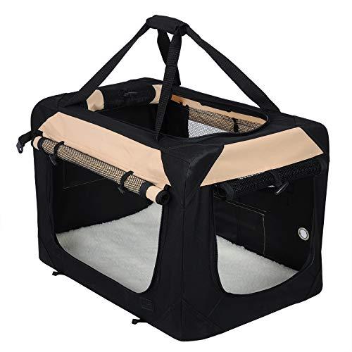 EUGAD Hundebox Faltbar Hundetransportbox Auto Transportbox Reisebox Katzenbox Box mit Hundedecke Oxford Schwarz 0156HT