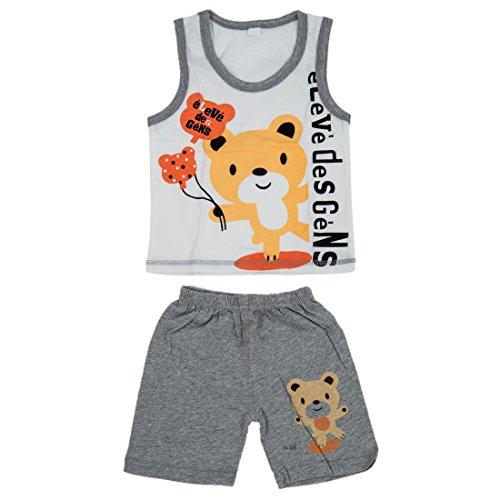 TOOGOO(R) Baby Kinder Kleidung Satz, Maedchen Jungen T-Shirt + Hosen Unterhemd Kurzschluesse, Kinder Pajama-Satz, Kinder T-Shirts Neu - Baern grau, 2T