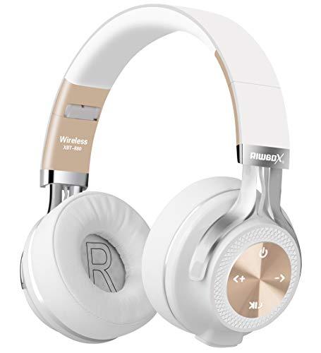 Riwbox XBT-880 Bluetooth-Kopfhörer, kabellos, mit Mikrofon und Lautstärkeregler, kabellos und verkabelt, faltbar, für iPhone/iPad/PC/Handys/TV Weiß/goldfarben (Iphone 4 Haut Bedeckt)