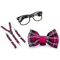 PINK TARTAN NERD GEEK SQUAD SCHOOL GIRL 3 PCS SET FANCY DRESS COSTUME (Pink Tartan 3 pc Set) by Glossy Look