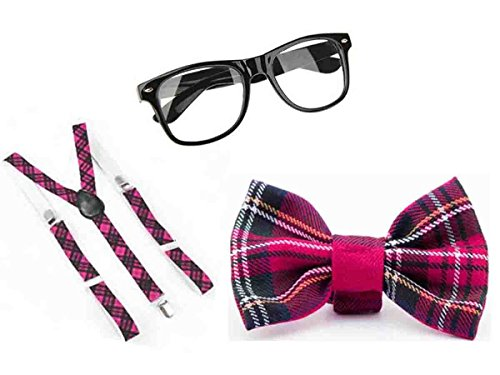 Geek Kostüm Fancy Girl Dress - PINK TARTAN NERD GEEK SQUAD SCHOOL GIRL 3 PCS SET FANCY DRESS COSTUME (Pink Tartan 3 pc Set) by Glossy Look