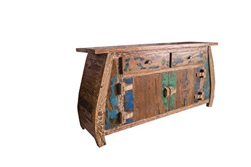 (K7)Vintage Teak gebogene Kommode, Kabinett, Sideboard, Schrank, Shabby, Antik Retro, Chic - 2