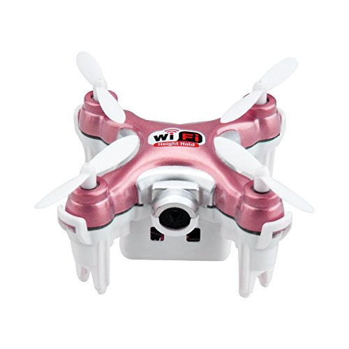 kingtoys Mini RC Drone Cheerson CX-10WD-TX Wifi FPV Quadcopter Con HD Camera modalità High attesa 2.4G a 6 assi di controllo remoto Nano Quadcopter modalità RTF Interruttore, Rosso