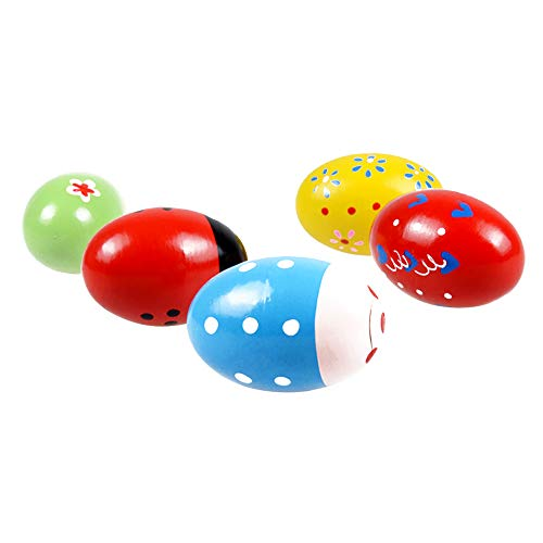 Huevos de madera 2 piezas de colores arena percusión instrumentos musicales juguetes niños regalos de halloween patrón aleatorio