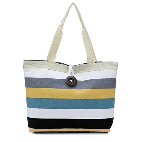 BHYDRY donne strisce colorate Shopping borsetta spalla borsa di tela(40cm*30cm*10cm,A)