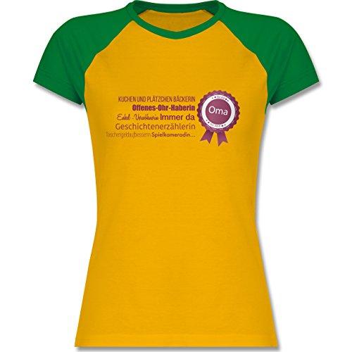 Oma - beste Oma - zweifarbiges Baseballshirt / Raglan T-Shirt für Damen Gelb/Grün