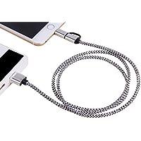 Forepin® 2 in 1 USB Cavo Nylon Intrecciato Trasmissione Dati Carica per Apple iPhone 7,7Plus,SE, 6, 6Plus, 6S, 6S plus, 5, 5S, 5C, iPad Air, Mini, Mini 2, iPad 4, iPod 5 e iPod 7 - 1m (Argento)