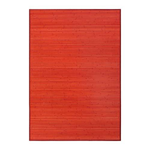 LOLAhome Alfombra de salón o Comedor Pop roja de bambú de 140 x 200 cm Iris, 140x200