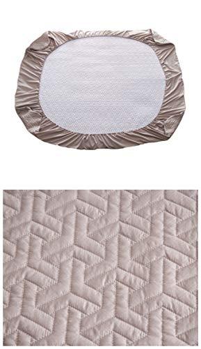 Authda Spannbettlaken Winter Warm Baumwoll-Mischgewebe Leichtsteppbett Spannbetttuch Weich Runde (200 x 200 cm, Grau)