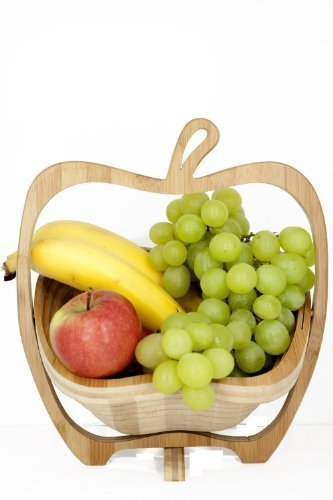 GMMH Panier pliable en bambou Bol décoratif, Bol de fruits, en bois Apple 1