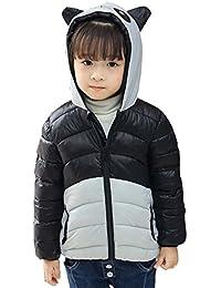 XUANXIANG - Chaqueta de Pluma para Invierno Infantil Unisex Súper Calentito Abrigo Acolchado de Plumón Ligero con Capucha Disfraz Panda para Niños Niñas - 2-8 Años