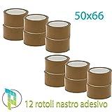 Palucart® 12 pezzi rotoli nastro adesivo pacchi 50x66 svolgimento SILENZIOSO nastro da imballo colore AVANA