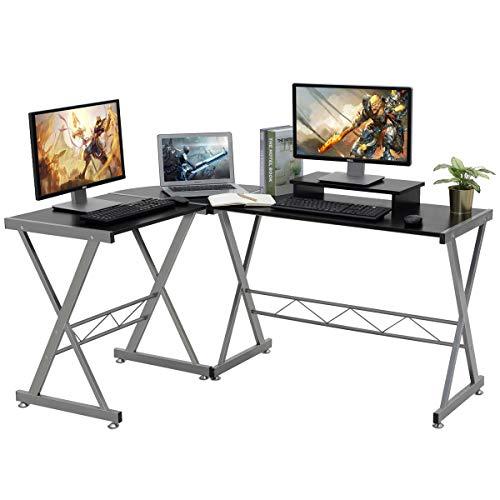 LASUAVY Computer-Schreibtisch, L-förmig, große Ecke, PC Laptop, Arbeitstisch, Gaming-Tisch für zu Hause und im Büro, inklusive Monitorständer, Holz und Metall, Schwarze Holzmaserung - L-förmigen Schreibtisch Möbel