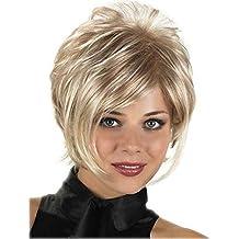 Royalfirst Pelucas cortas para mujeres blancas – pelucas de pelo sintético rubio con brazaletes de fiesta
