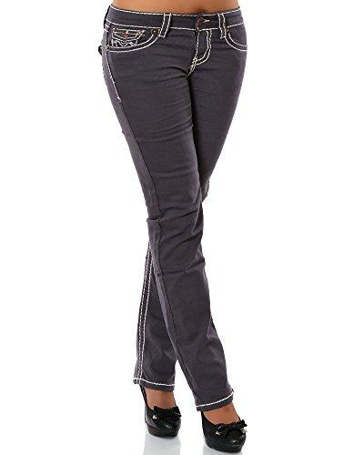 Damen Jeans Straight Leg (Gerades Bein Dicke Nähte Naht weitere Farben) No 12923, Größe:38;Farbe:Steingrau