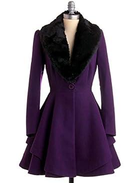 Abrigo largo de invierno elegante para mujer estilo retro abrigo A-line cóctel de moda con cuello en V de pelo...