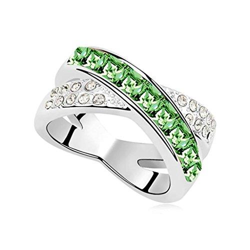 Epinki Damen Ringe, Edelstahl Damenringe Buchstaben X Form Verlobungsringe Solitärring Eheringe Olive mit Zirkonia Gr.54 (17.2)