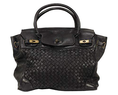 BOZANA Bag Lara nero Italy Designer Damen Handtasche Schultertasche Tasche Leder Shopper Neu -