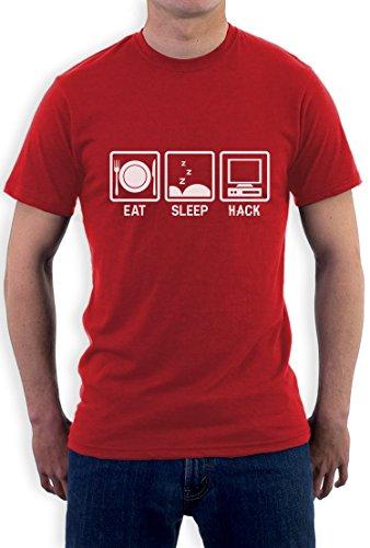 Eat Sleep Hack T-Shirt - Geschenkidee für Programmierer T-Shirt Rot