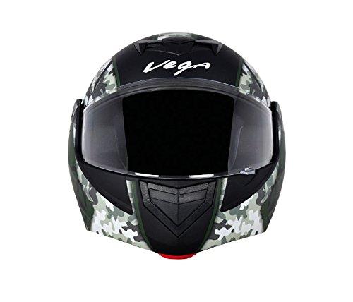 Vega Crux DX Full Face Helmet (Camouflage Dull Black and Battle Green, M)