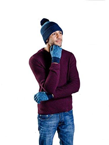 Hommes Hamish Chapeau & Gants D'Hiver Chaud (Bleu/Bleu Marine)