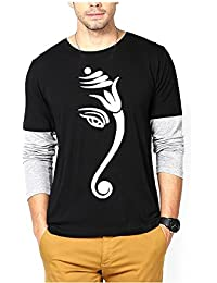 Lime Black Color Printed Round Neck T Shirt For Men