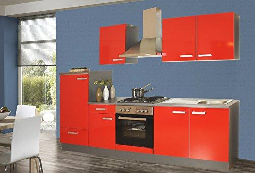 Küchenzeile 270 cm Komplett Küche rot mit Kühlschrank Herd Backofen Spüle Esse