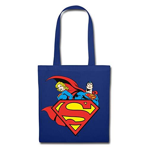 Spreadshirt DC Comics Originals Supergirl Und Superman Stoffbeutel, Royalblau