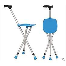 GGMM bastón de edad avanzada con silla de caña ligera , blue