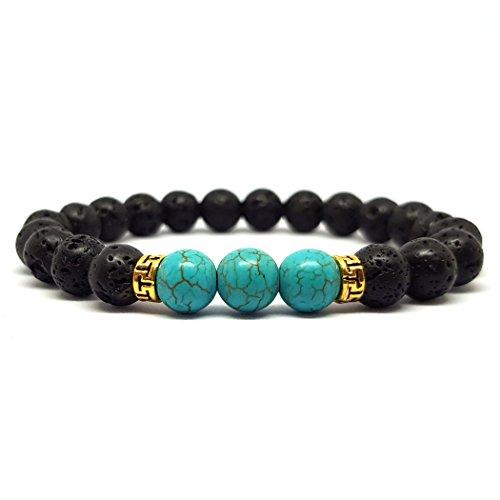 Kardinal.weist bracciale in pietra lavica naturale con diverse perle di chakra, gioielli chakra per uomo e donna, braccialetto yoga (howlite/turchese)