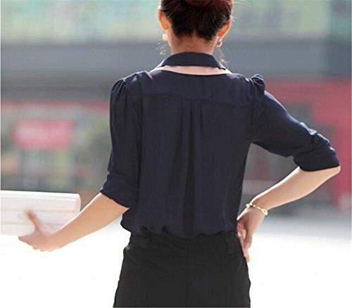 AILIENT Donna Maglie A Manica Lunga Camicetta Eleganti Maglietta Casual T-Shirt Moda Blusa Comode In Chiffon Blue