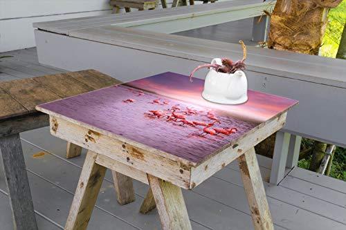 Wallario Aufkleber Selbstklebende Garten-Tisch-Decke - Rosa Flamingos bei Sonnenuntergang in 70 x 70 cm -