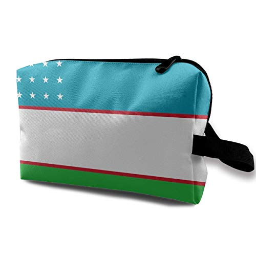 Flag of Uzbekistan Makeup Bag Travel Receive Bag Storage Capacity Bags -