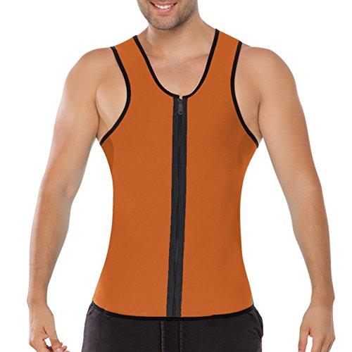 ACMEDE Herren Abnehmen Bauch Körper Fitnessgürtel Former Tank Top Taille Shapewear für Weight Orange 5XL