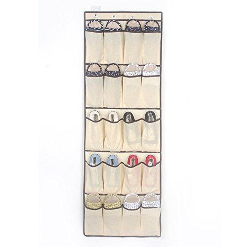 Hängeorganizer Wand Hängenden COLORFUL Hanging Over Door Schuh Veranstalter Storage Rack Bag Box Kleiderschrank Haken mit 20 Taschen (Beige)
