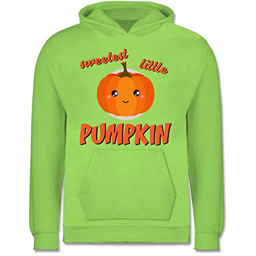 Shirtracer Anlässe Kinder - Sweetest Little Pumpkin Halloween - 12-13 Jahre (152) - Limonengrün - JH001K - Kinder Hoodie