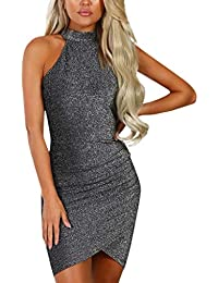 Womens Bodycon Mini Dress, GreatestPAK Halter Neck Solid Fashion Sleeveless Off Shoulder Party Mini Dress