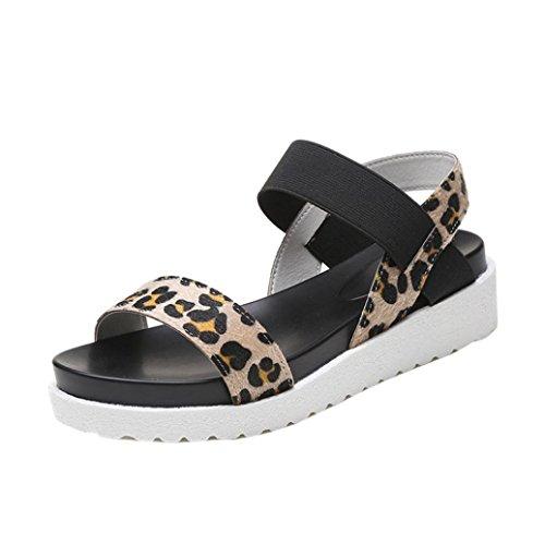 Damen Sandalen Ronamick Mode Sandalen Frauen im Alter von Leder Flache Sandalen Damen Schuhe (36, Braun)