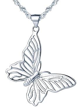 Yumilok 925 Sterling Silber Elegant hohler Schmetterling Anhänger Halskette Kette mit Anhänger für Damen Mädchen