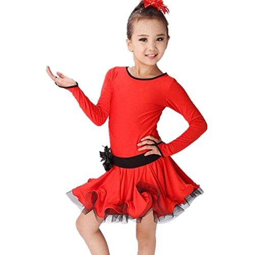 Wgwioo Esposizione Dei Fiori Garza Bambini Latino Abito Da Ballo . Red . (Garza Shirt Dress)
