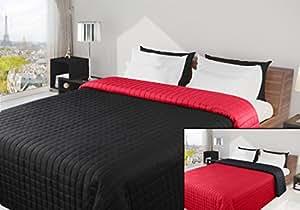 220x240 schwarz rot Tagesdecke Bettüberwurf Steppbettüberwurf Steppung zweiseitig Eva