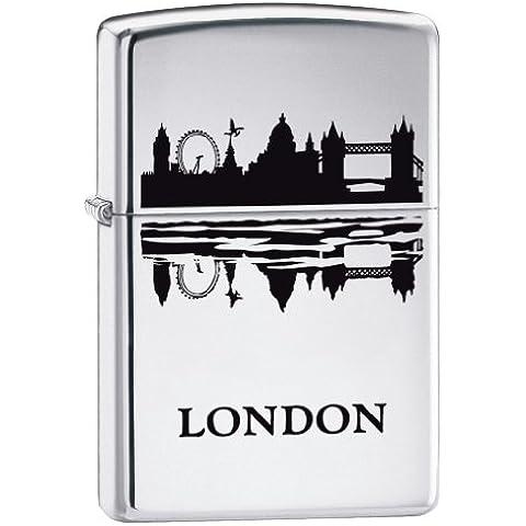 Zippo London skyline accendino alta cromo lucido