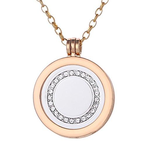 Morella Mujeres Collar 70 cm Acero Inoxidable de Oro y Colgante Amuleto Coin 33 mm Anillo de Piedra Brillante de Color Plata para Damas en Bolsa para Joyas