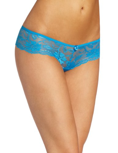 (Baci Women's Low-Rise Lace Booty Short, Blue, Large)